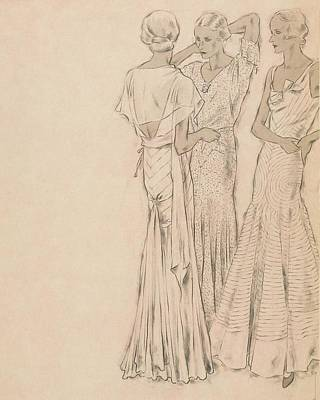 Models Wearing Chanel Evening Gowns Poster by Helen Dryden