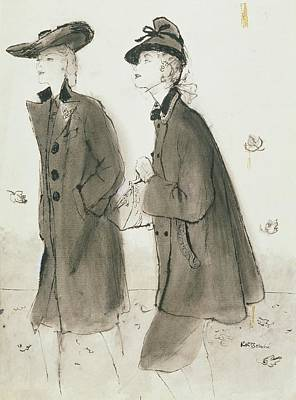 Models Wearing Coats And Hats Poster by Ren? R. Bouch?