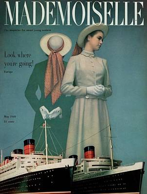 Models Wearing Duchess Royal Above Ships Poster by Herman Landshoff