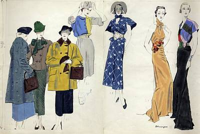 Models Wearing Schiaparelli Poster by Pierre Mourgue