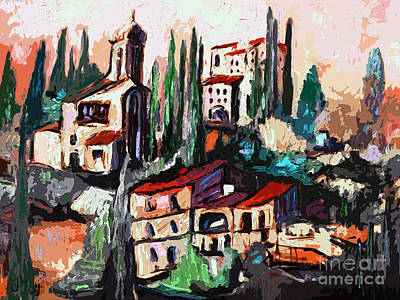 Modern Expressive Tuscan Village Art Poster by Ginette Callaway