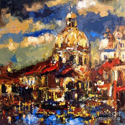 Modern Impressionist Venice Sparkling At Sunset  Poster