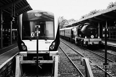 Modern Northern Ireland Railways Class 4000 Train And Steam Locomotive Train At Bangor Station North Poster by Joe Fox