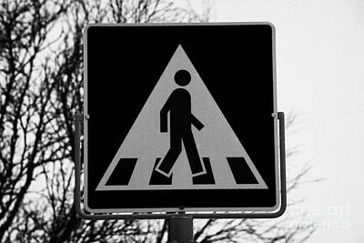 Modern Pedestrian Crossing Sign Snowing In Hammerfest Finnmark Norway Europe Poster