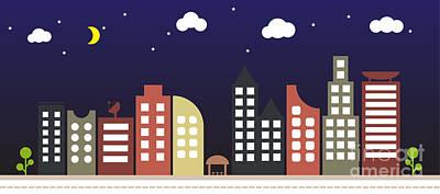 Modern Urban Building Landscape Vector Poster