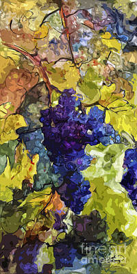 Modern Wine Grapes Art  Poster by Ginette Callaway