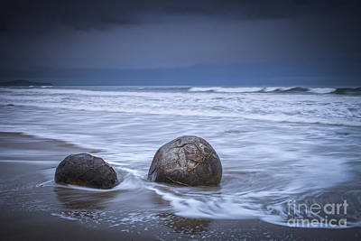 Moeraki Boulders And Waves Poster by Colin and Linda McKie