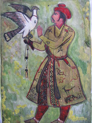 Poster featuring the painting Moghul With Eagle by Vikram Singh