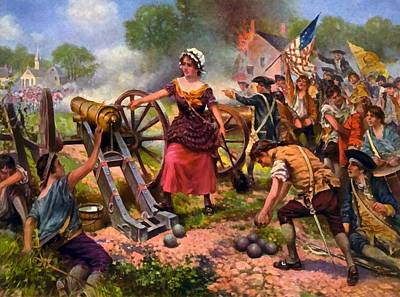 Molly Pitcher Firing Cannon At Battle Of Monmouth Poster by Percy Moran