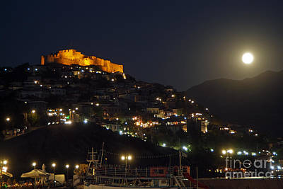 Molyvos Village Under Full Moon Poster by George Atsametakis