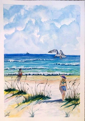 Poster featuring the painting Mom Son Beach by Richard Benson