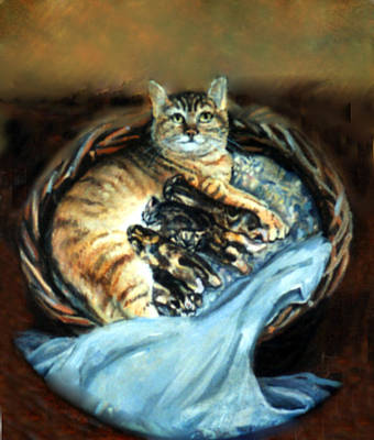 Poster featuring the painting Mom With Her Kittens by Donna Tucker