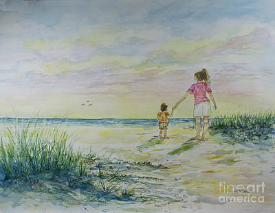 Mommy And Me At The Beach Poster