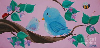 Mommy-baby Birds Poster