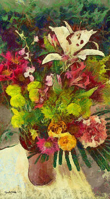 Poster featuring the digital art Mom's Flowers by Spyder Webb