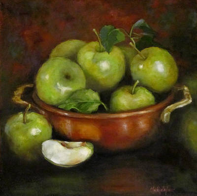 Poster featuring the painting Mom's Last Apple Harvest by Cheri Wollenberg