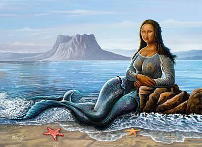 Poster featuring the digital art Monalisa Mermaid by Anthony Mwangi