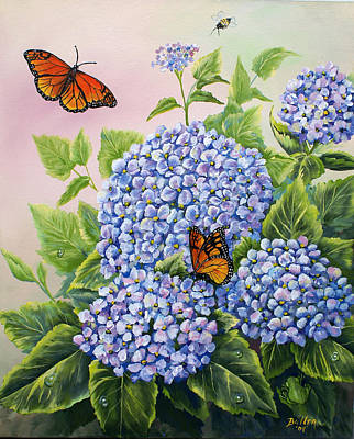 Monarchs And Hydrangeas Poster by Gail Butler