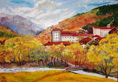 Poster featuring the painting Monastery by Nina Mitkova