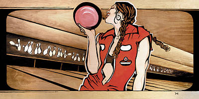 Monday Night Bowler Poster by Janet Guenther