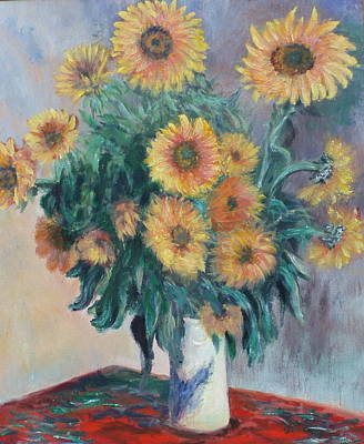 Poster featuring the painting Monet's Sunflowers by Catherine Hamill
