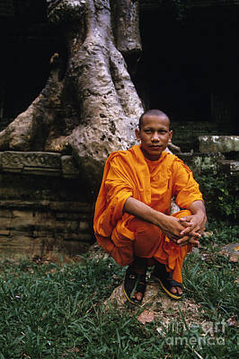 Monk At Preah Khan Temple Angkor Wat Ruins Near Siem Reap Camb Poster
