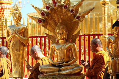 Monk Ceremony - Wat Phrathat Doi Suthep - Chiang Mai Thailand - 011312 Poster by DC Photographer