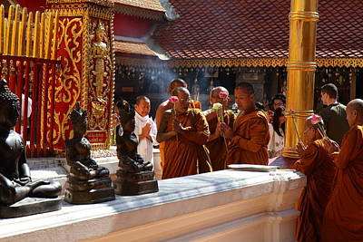 Monk Ceremony - Wat Phrathat Doi Suthep - Chiang Mai Thailand - 01132 Poster by DC Photographer