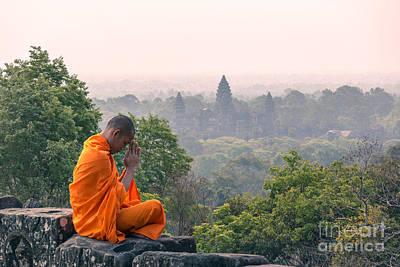 Monk Meditating At Angkor Wat Temple- Cambodia Poster