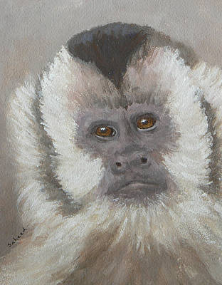 Poster featuring the painting Monkey Gaze by Margaret Saheed