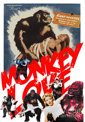 Monkey Love Poster by Sasha Keen