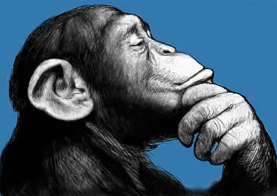 Monkey Pop Art Drawing Sketch Poster by Kim Wang