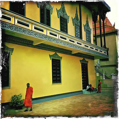 Monks At Ounalom Pagoda In Cambodia Poster