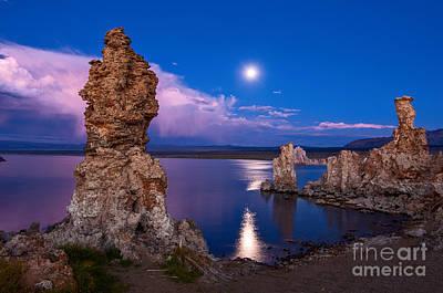 Mono Moonrise - Strange Tufa Towers Of Mono Lake In California. Poster