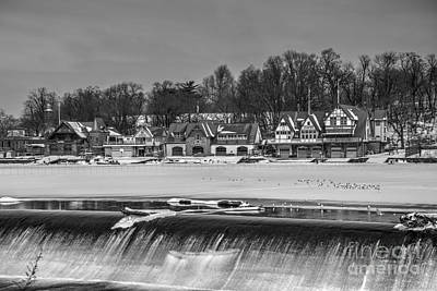 Monochrome Boathouse Row Poster