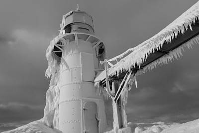 Monochrome Frozen Lighthouse Grand Haven Michigan Poster by Dan Sproul