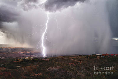 Poster featuring the photograph Monsoon Lightning Hits Clarkdale Arizona As Seen From Jerome by Ron Chilston