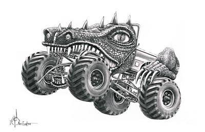 Monster Truck Poster by Murphy Elliott