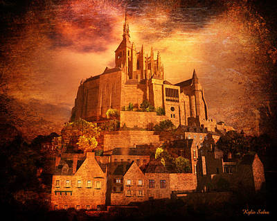 Poster featuring the digital art Mont Saint-michel by Kylie Sabra