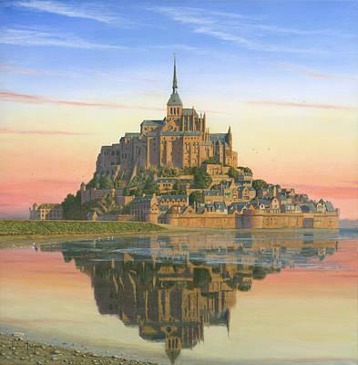 Mont Saint-michel Morn Poster