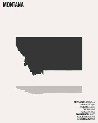 Montana Minimalist State Map With Stats Poster