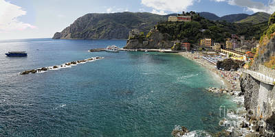 Monterosso Bay Panorama Poster by George Oze