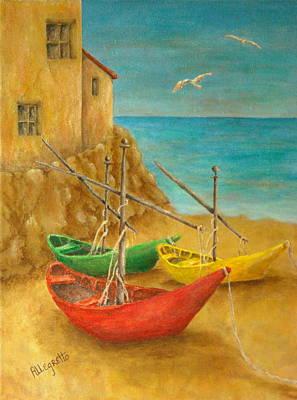 Monterosso On Riviera Di Levante Poster by Pamela Allegretto