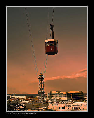 Montjuic Cable Car Poster by Pedro L Gili