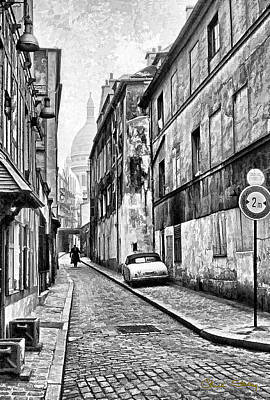 Montmartre Street - B W Poster by Chuck Staley