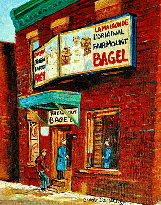 Montreal Bagel Factory Famous Brick Building On Fairmount Street Vintage Paintings Of Montreal  Poster by Carole Spandau