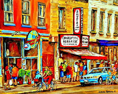 Montreal Bike Path Reserved Lane Cyclists Drive By Schwartzs Deli  Line-up Montreal Paintings Poster by Carole Spandau