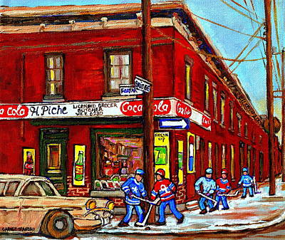 Montreal Depanneur Epicerie Boucherie Coca Cola South West Montreal Winter Pantings Hockey Art  Poster by Carole Spandau