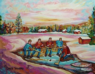 Montreal Memories Pond Hockey Countryside Winter Art In Laurentians Carole Spandau Paintings Poster by Carole Spandau