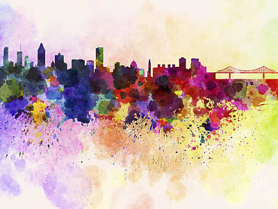 Montreal Skyline In Watercolor Background Poster by Pablo Romero